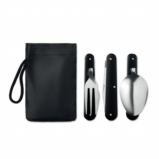 3 SERVICE Camping SS cutlery set