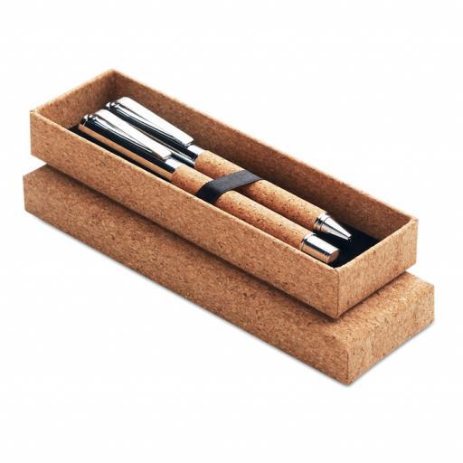QUERCUS Metal Ball pen set in cork box