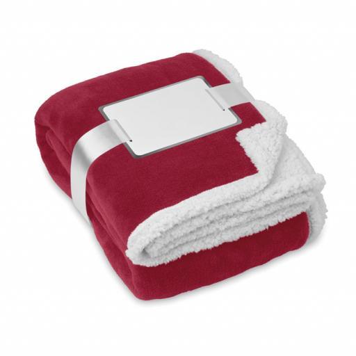 ZERMATT Blanket, coral fleece/ sherpa