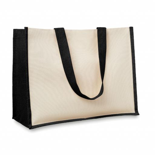 CAMPO DE FIORI Jute and canvas shopping bag