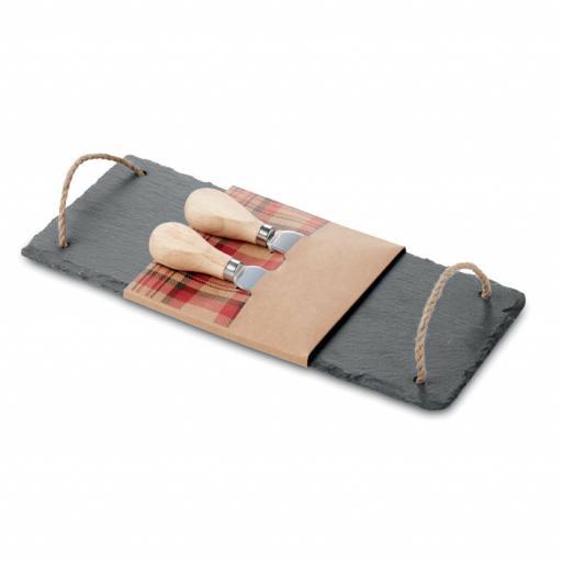 RIMINI Slate cheeseboard with 2 knive