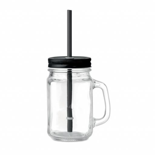 TROPICAL TWIST Glass Mason jar with straw