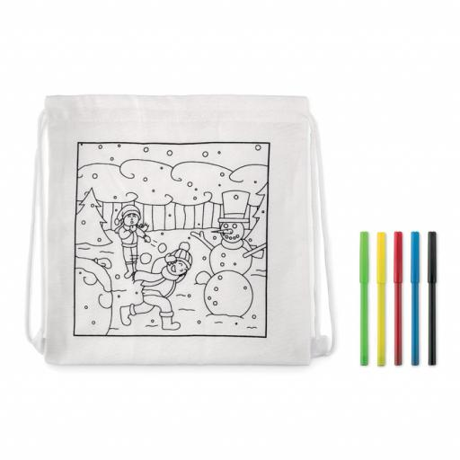 PAINT&GO Drawstring bag with markers