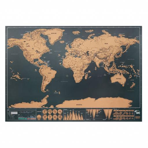 BEEN THERE Scratch world map 42x30cm