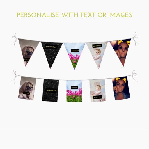 Personalised Bunting Rectangle 10m length 18 textile pennants per length - 115g knitted polyester