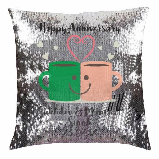 Happy Anniversary – Mug Love - Silver & Black Sequin Cushion Cover
