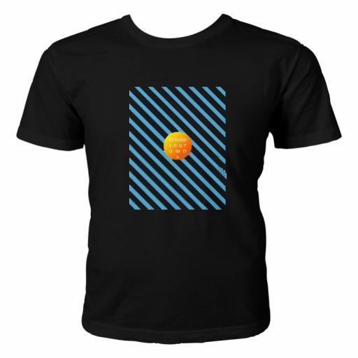 T-shirt - 100% Cotton Black - A3 Landscape Front & Back Print - Unisex Large