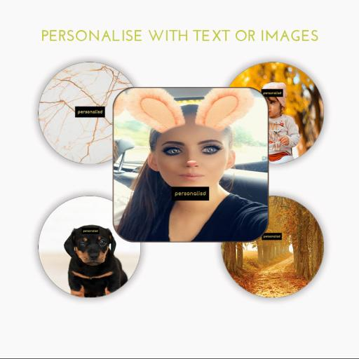 Personalised Coaster Round / Square Wooden Hardboard 4 pack 9cm x 9cm