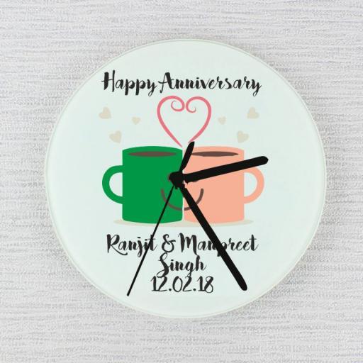 Happy Anniversary – Mug Love - Glass Clock