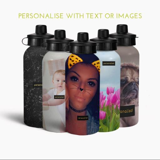 Personalised Aluminium Water Bottle, 400/600ml