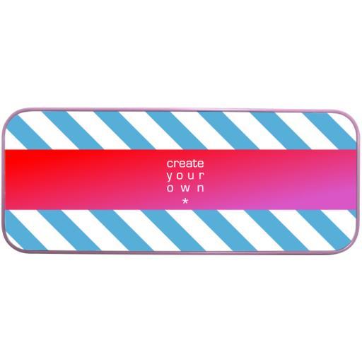 Pencil Case - Metal - Pink - Printed Top Panel
