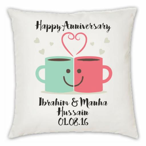 Happy Anniversary – Mug Love Smooth Linen Cushion With Hollow Fibre Inner, Double Sided print, Var Sizes