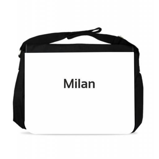 Shoulder Bag - Black Polyester - Milan - 37cm x 30cm.