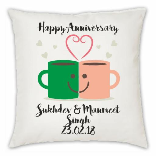 Happy Anniversary – Mug Love Faux Suede Cushion Cover Only, Double Sided print Var Sizes