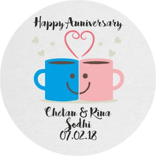 Happy Anniversary – Mug Love - Chopping Board - Round 30 x 30cm