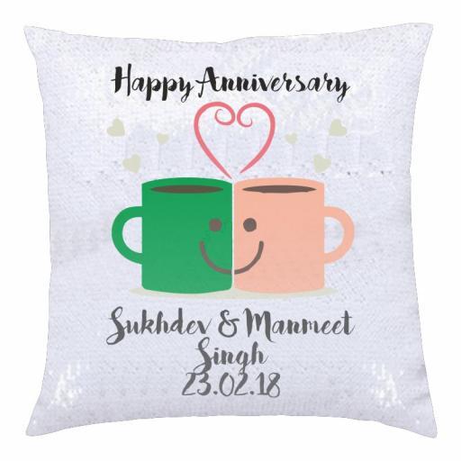 Happy Anniversary – Mug Love - Silver & White Sequin Cushion Cover