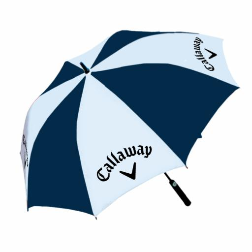 "Umbrella - Fibreglass frame. Large 60"" Canopy. Foam Handle. Automatic opening. Navy Blue/White panels with full colour panel print on white panels."