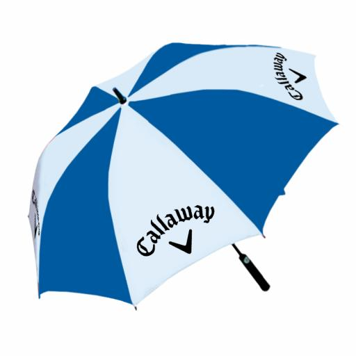 "Umbrella - Fibreglass frame. Large 60"" Canopy. Foam Handle. Automatic opening. Royal Blue/White panels with full colour panel print on white panels."