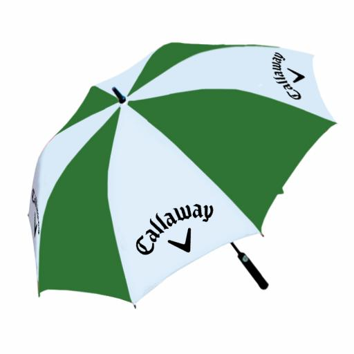 "Umbrella - Fibreglass frame. Large 60"" Canopy. Foam Handle. Automatic opening. Green/White panels with full colour panel print on white panels."